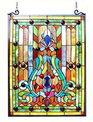 """Stained Glass Vintage Victorian Design Tiffany Style Window Panel  18"""" W x 25"""" T"""
