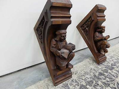 Pair Of Gothic Style Antique Walnut Figural Carved Corbels / Brackets
