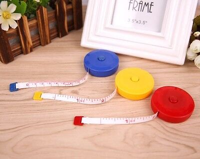 3x 1.5M Body Clothes Measure Tape Line Ruler Soft Retractable Sewing Tailor