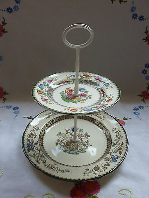 Vintage Copeland Spode 2 Tier Cake Stand, Chinese Rose