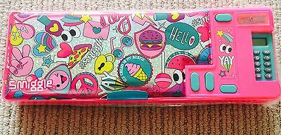 Latest! Smiggle Says Pop Out Pencil Case Inc Calculator Bnip Pink
