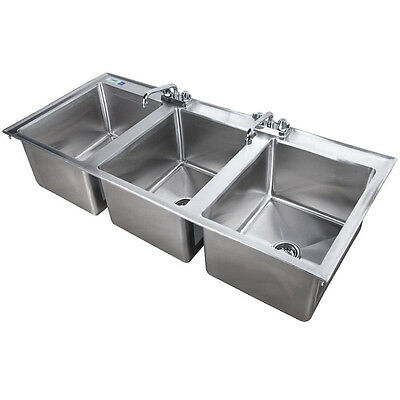 "56"" Three Compartment 2 FAUCETS 16"" x 20"" x 12"" Stainless Steel Drop In Sink 3"