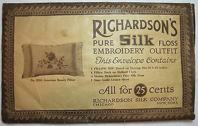 Antique Richardson Silk Company Pillow Embroidery Kit Complete circa 1910