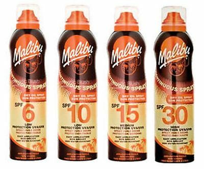 Malibu Continuous Dry Oil Aerosol Spray Sun Protection 175ml choose your SPF/Qty