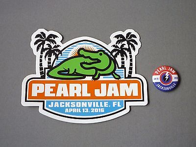 "2016 Pearl Jam ""jacksonville, Fl"" Official Tour Pin Button Badge - Vedder - Rare"