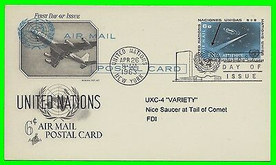 """United Nations FDI  UXC-4 """"VARIETY""""  Postcard  """"Flying Saucer on Tail of Comet"""""""