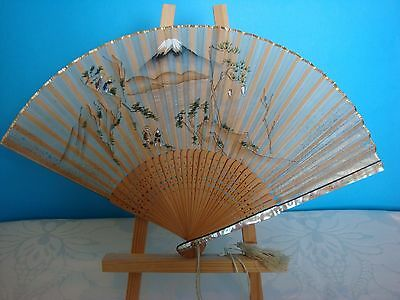 Vintage Hand Fan Hand Painted MOP Guards and Bamboo Staves  (Lot 3)