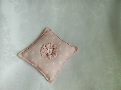 Handmade Padded Pin Cushion - Pale Pink With White Dots