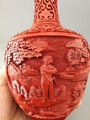 20th Antique Old Chinese cultural revolution  cinnabar Vase