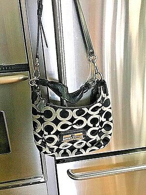 Coach Bag Cross Body-Black & Gray  Signature C Cloth With Leather trim