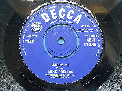"Mike Preston Marry Me / Girl Without A Heart 7"" Uk Ex-"