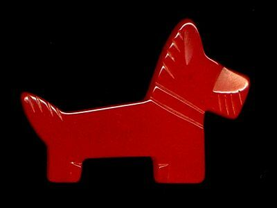 Vintage Button…Large Chunky Carved Cherry Red Bakelite Scottie Dog