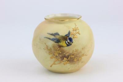 ROYAL WORCESTER BLUSH IVORY VASE WITH HAND PAINTED BLUE TIT c1912. 1st of 2