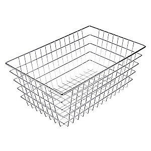"""MARLIN STEEL WIRE PRODUCTS Basket,Silver,Steel,Rectangular,10"""" H, 155-12, Silver"""