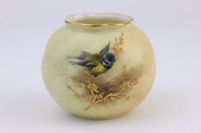 ROYAL WORCESTER BLUSH IVORY VASE WITH HAND PAINTED BLUE TIT c1912. 2nd of 2