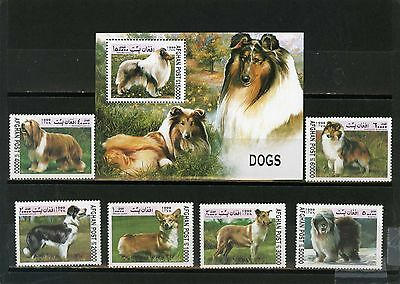 AFGHANISTAN 1999 Mi#1856-1861,Bl.109 FAUNA/DOGS SET OF 6 STAMPS & S/S MNH