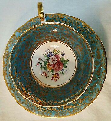 Aynsley Bone China Turquoise Blue with Gold Flowers Tea Cup and Saucer - C878