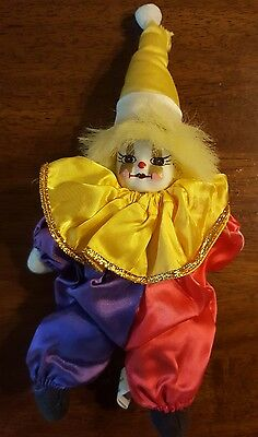 "Porcelain Sitting Clown Doll 8"" Harlequin Jester Mardi Gras Purple Red Yellow"