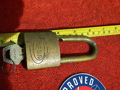 Very Rare Early Brass CORBIN Pad Lock with key (some are about 100 years old)