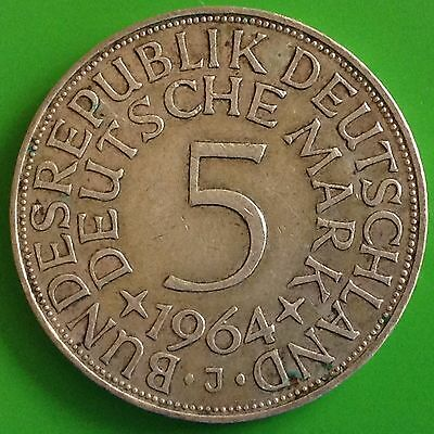 1964 - J Germany Silver 5 Mark Coin