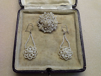 Antique Naural Pearls, Pre Victorian/victorian Earrings & Brooch Set  Boxed