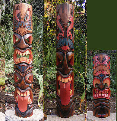 "Tribal Tiki Mask Package Deal Set of 3- Patio Tropical Bar 40""-  PD#5"