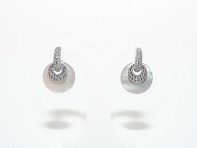Judith Ripka Sterling Pave & Mother Of Pearl Changeable Earrings (M463-6-15)