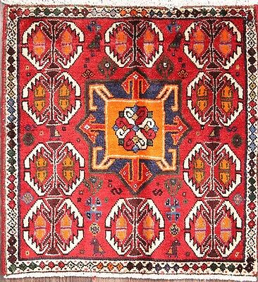 Stunning Geometric Square 2x2 Shiraz Persian Area Rug Wool Oriental Carpet