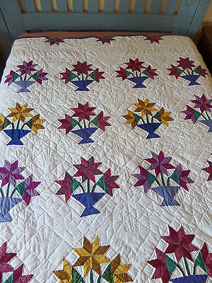 "Vintage Handmade Quilt Hand Quilted Vivid Colors Basket of Flowers 81"" x 81"""