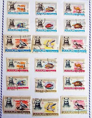 Ajman 1964 Animals Birds & Fish Definitives Comp Set Of 18 Used **see Scans**