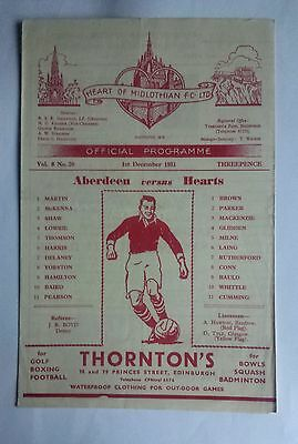 Hearts v Aberdeen 1st December 1951 Scottish League Division A Programme
