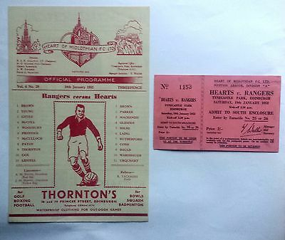 Hearts v Rangers 19th January 1952 Scottish League Programme and Unused Ticket