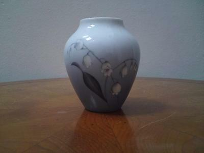 A miniature Bing Grondahl Denmark vase 57/12 signed CV lily of the valley flower