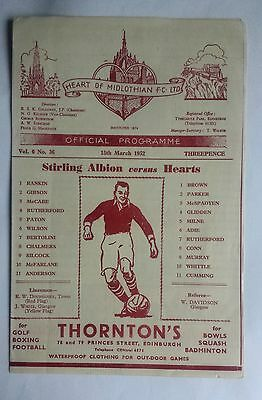 Hearts v Stirling Albion 15th March 1952 Scottish League Division A Programme