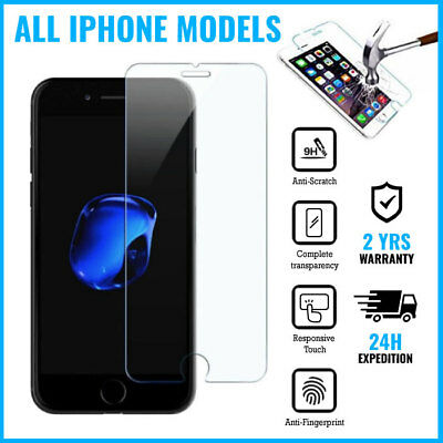 Screen Protector Tempered Glass iPhone 4 4S 5 5S 5C SE 6 6S 7 8 X XR XS Plus Max