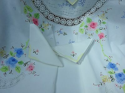 Pretty True Vintage Applique Tablecloth 8 x Napkins Madeira Lace Hand Embroidery
