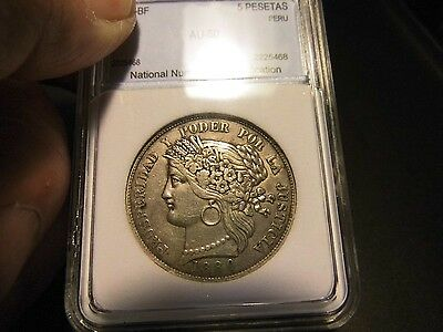 Peru 1880-BF 5 Pesetas With Dot Almost Uncirculated Fifty NNC Silver Coin SALE