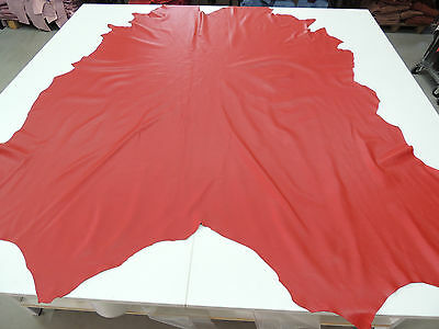 Hide polsteleder Genuine Cow Hide color. Red Semi-Aniline Real Leather AB 1 QM