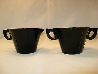 Vntg Black Amethyst Glass Cream & Sugar Bowl Set LE Smith 1920-30's