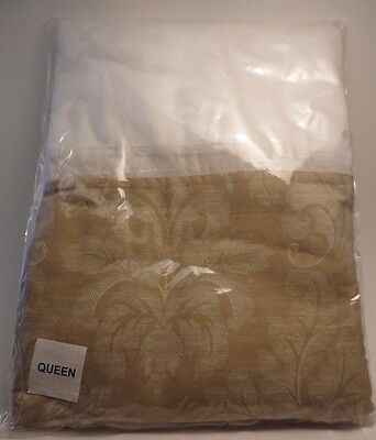 "Bed Skirt Queen Size Beige & White 14"" 100% Cotton New In Package FREE SHIPPING"