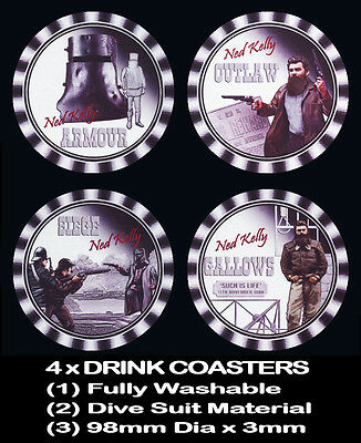4 x NED KELLY, OUTLAW, ARMOUR, SIEGE, GALLOWS, SUCH IS LIFE , DRINK COASTERS -