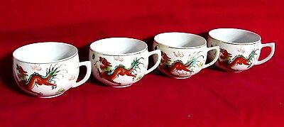 Vintage Chinese Dragon Tea Cup Hand Painted Porcelain Gold Trim Set of 4