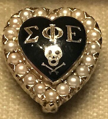 Large 1961 Sigma Phi Epsilon Fraternity Pin - Tests 10K White Gold - Youngstown