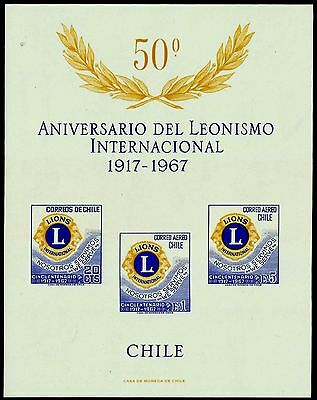 CHILE, 50th. ANNIVERSARY LYONS INTERNATIONAL, SOUVENIR SHEET, UNPERF., (GAR143)