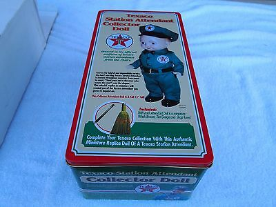 """Texaco Station Attendant Collector 13""""  Doll w/ Broom Tire Gauge Shop Towel"""