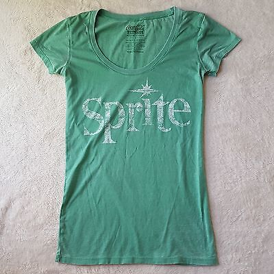 Coca Cola Vintage Sprite Graphic T-Shirt Womans Size S Short Sleeve Green