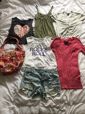 American Eagle Outfitters women's clothing lot- tank tops, sweaters, shorts, bag