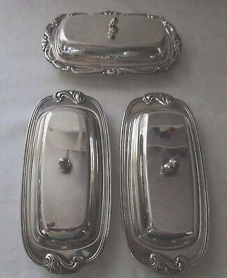 2 Wm A Rogers Silverplate Butter Dishes  Plus Another With Glass Inserts Great
