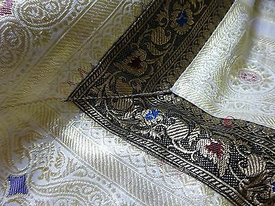 Vintage Large Quality Indian Silk Bed Cover Wall Hanging Bedspread Gold Thread