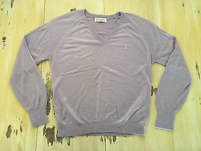 CHRISTIAN DIOR - Vtg 70s-80s Mens Light Purple Acrylic V-Neck Sweater, MEDIUM